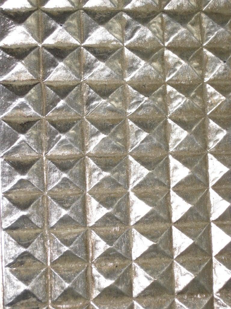 Large Rectangular Beveled Grid Mirror In White Gold At 1stdibs