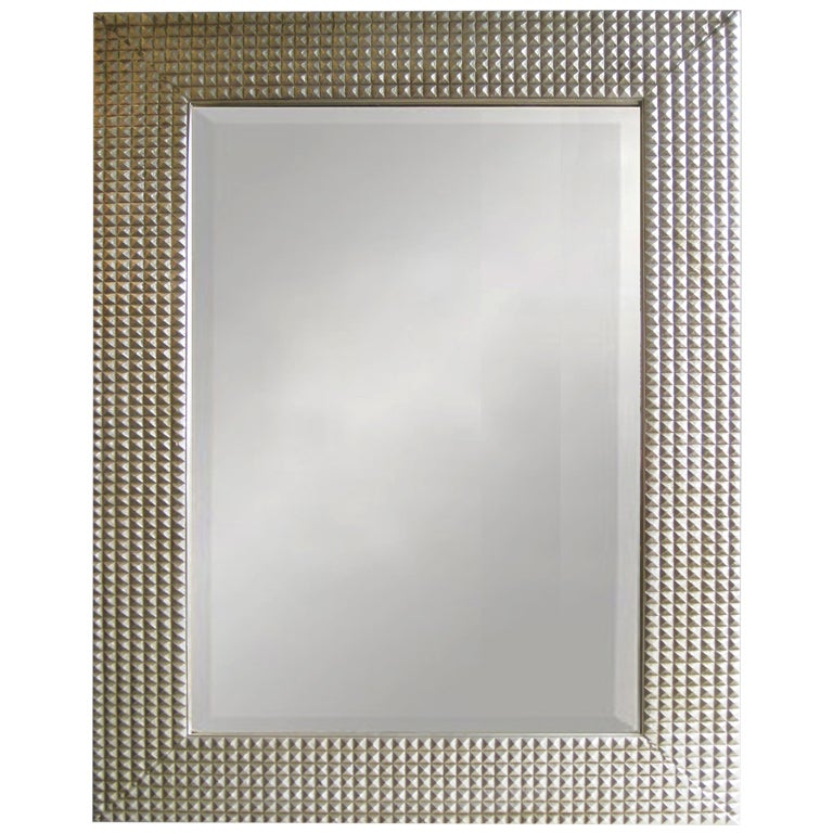 Large rectangular beveled grid mirror in white gold at 1stdibs for White and gold mirror