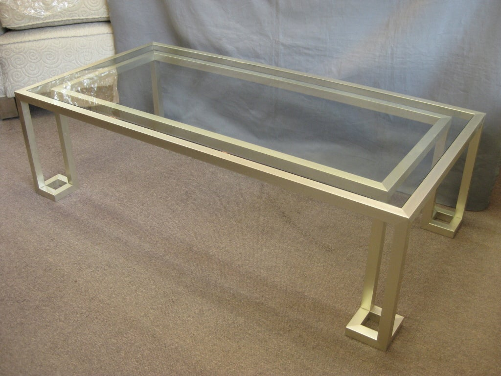 Italian 70s rectangular silverygold metal coffee table at 1stdibs -> Gold Rectangle Table