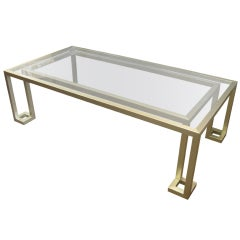 Italian 70's rectangular silvery/gold metal coffee table