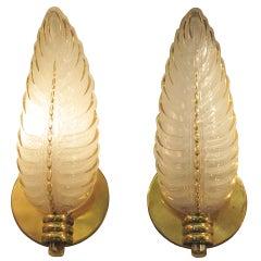 Pair of gilt decorarted glass leaf sconces-1940 signed Ezan