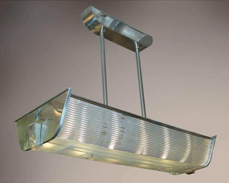 Kronleuchter Mit Glasschirm ~ Rechteckiger billiard stil kronleuchter aus glas und nickel p