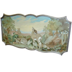 Original French 1950's large painting on panel of deer in  frame