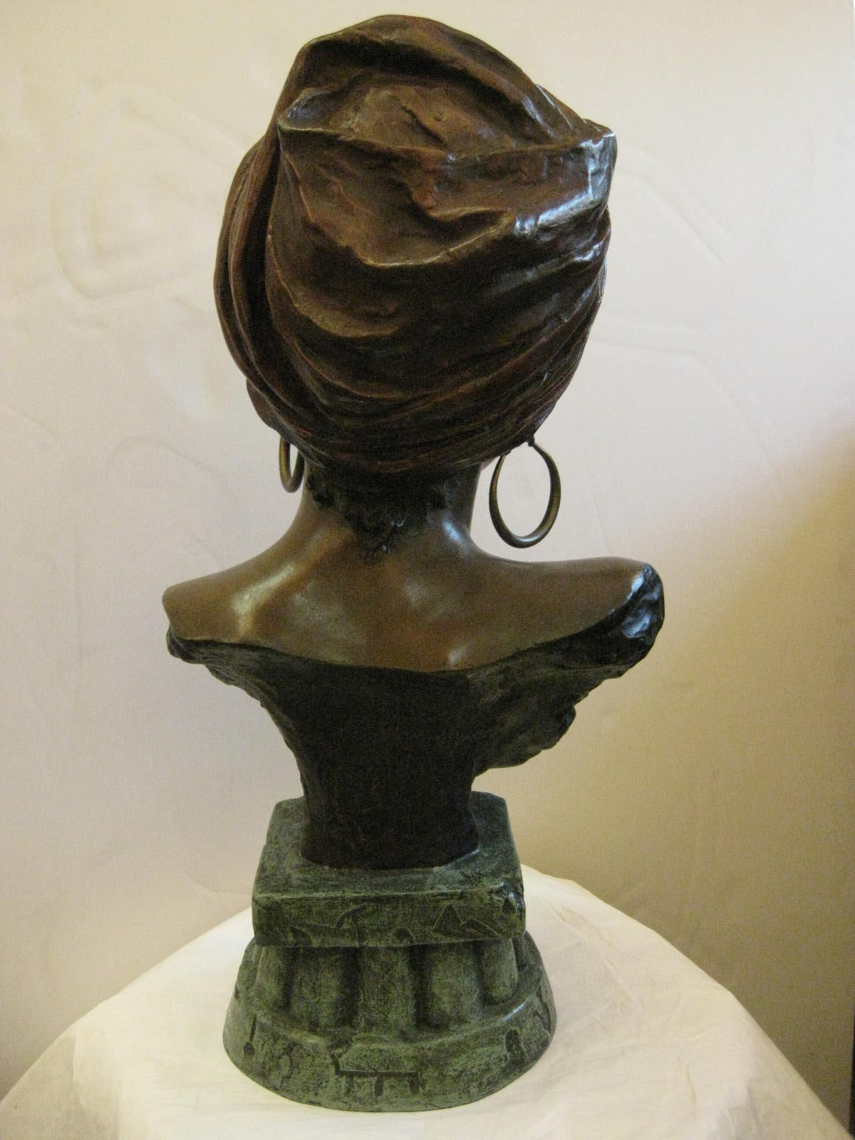 French Original Polychrome Spelter Bust of a Woman Signed E. Villanis, circa 1890 For Sale