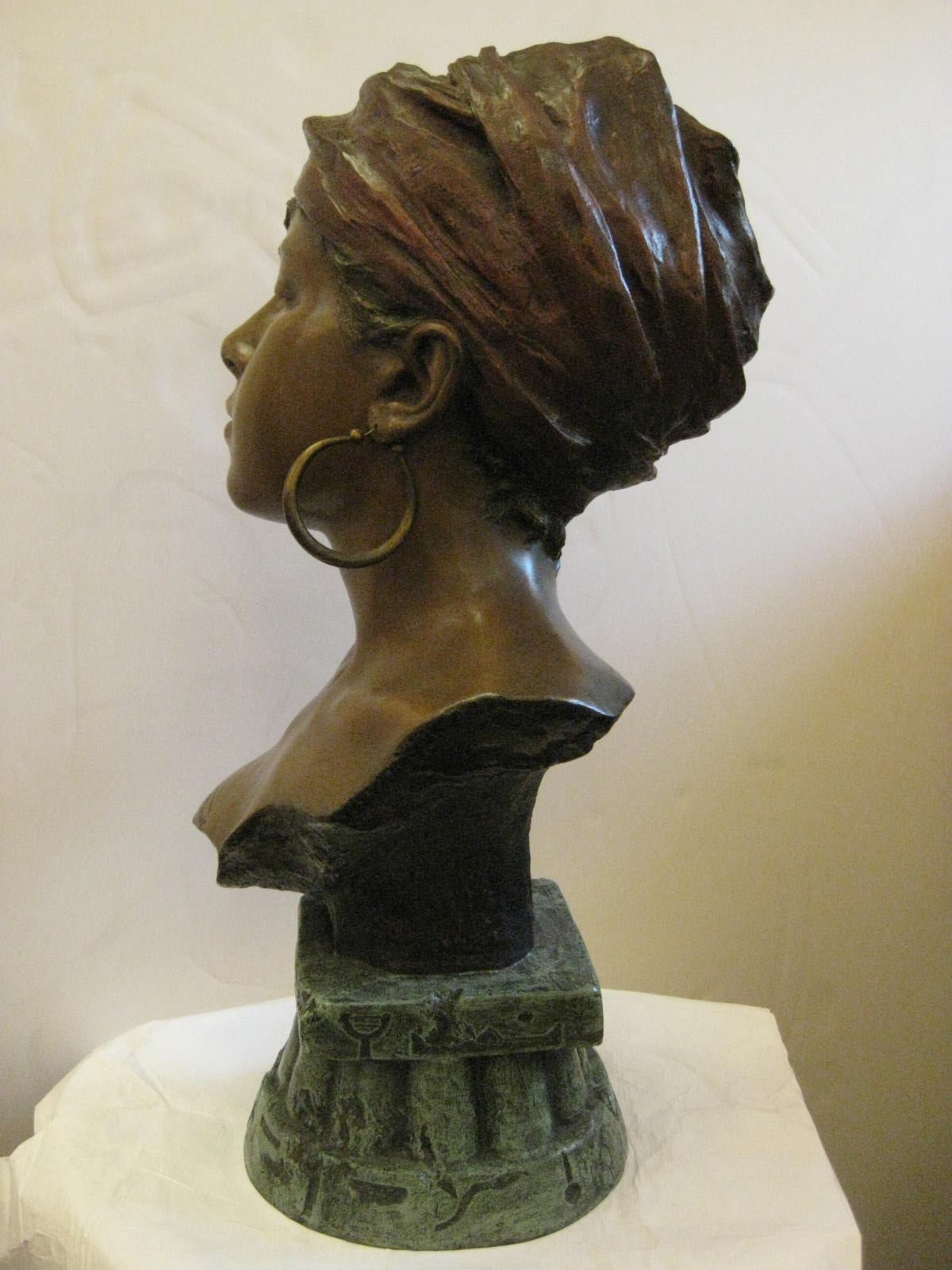 Beaux Arts Original Polychrome Spelter Bust of a Woman Signed E. Villanis, circa 1890 For Sale