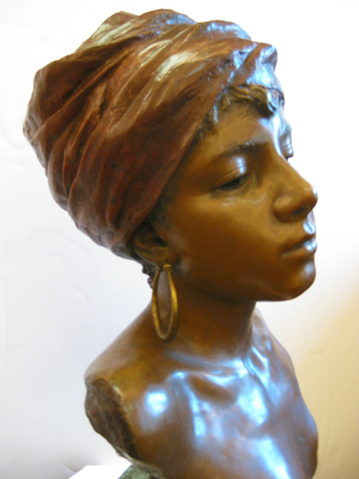 Original Polychrome Spelter Bust of a Woman Signed E. Villanis, circa 1890 For Sale 1