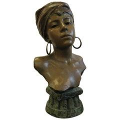 Original Polychrome Spelter Bust of a Woman Signed E. Villanis, circa 1890