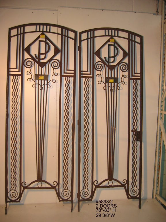 Important Pair Of French Art Deco Hand Wrought Iron Doors