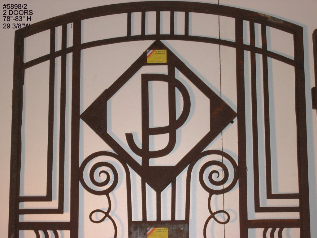 Important pair of French Art Deco hand wrought iron doors 1925 at ...