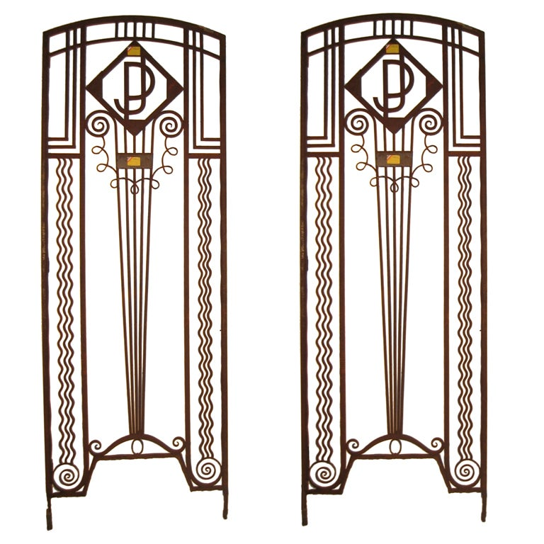 Art Deco Ornamental Ironwork: Important Pair Of French Art Deco Hand Wrought Iron Doors