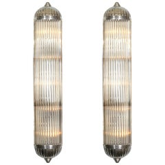 French Modernist Long Tubular Sconces by Petitot
