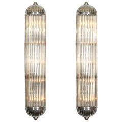 Two Pairs of French Modernist Long Tubular Sconces by Petitot