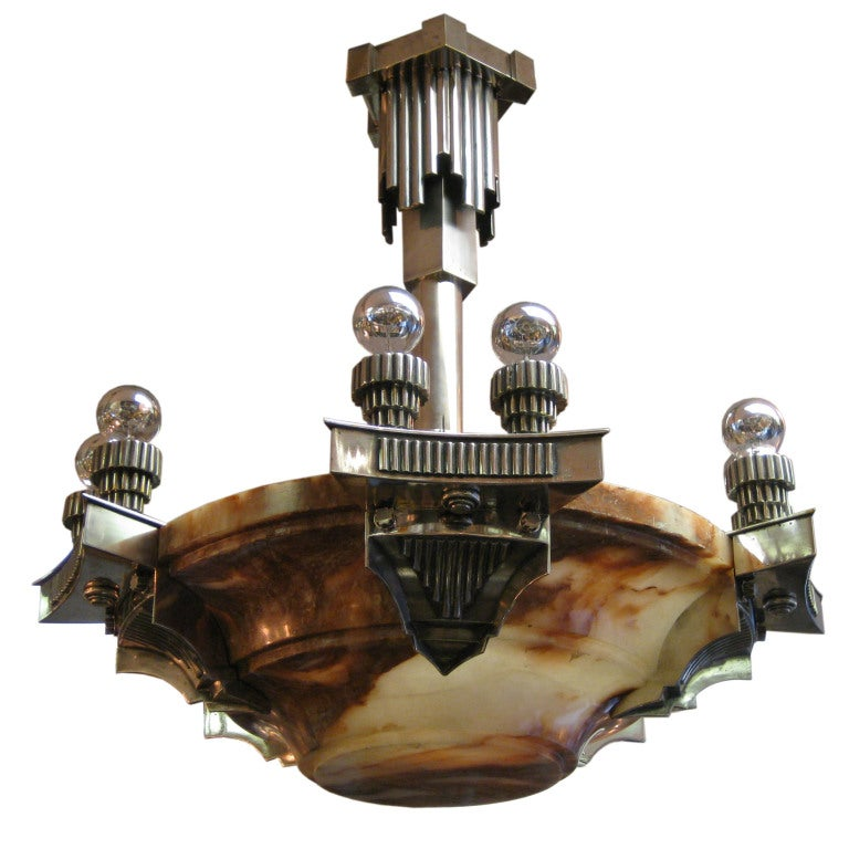 French Art Deco Alabaster and Nickeled Bronze Chandelier, Subes