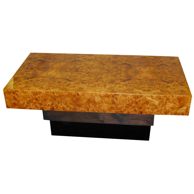 French Modernist Burl Wood Coffee Table At 1stdibs