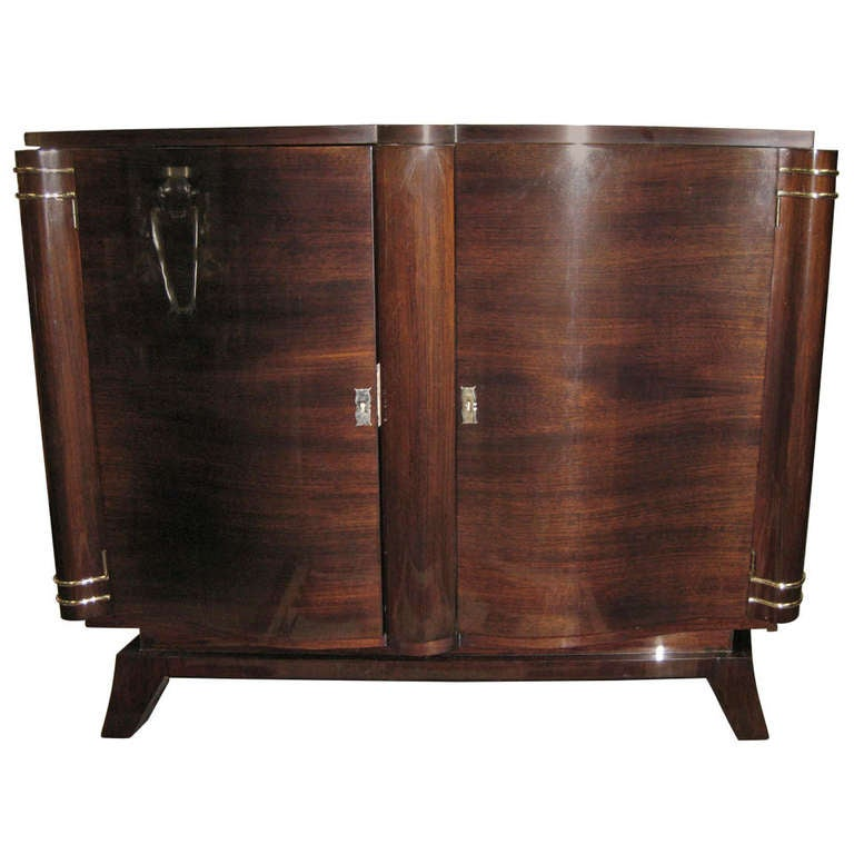 French Art Deco Two-Door Palisander Cabinet with Nickeled Mounts