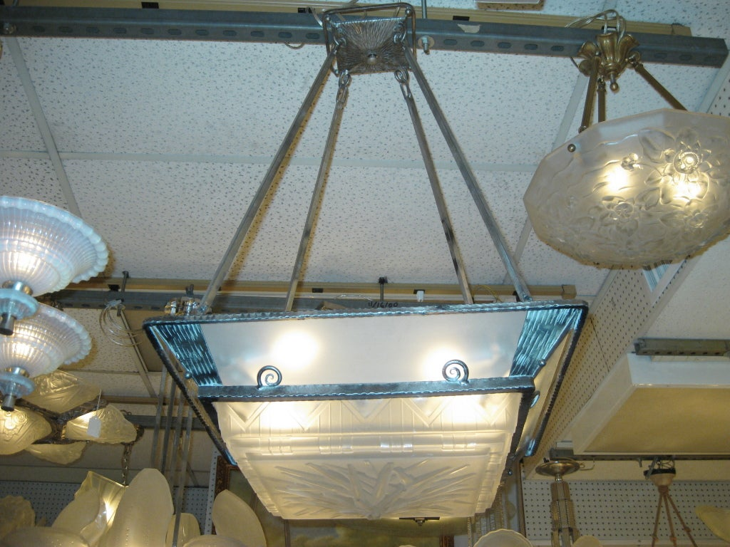 French art deco square chandelier circa 1925 attrib to muller at 1stdibs 20th century french art deco square chandelier circa 1925 attrib to muller for sale arubaitofo Choice Image