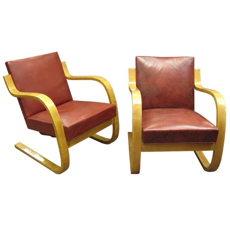 Pair of Early, Original Cantilever Chairs, Stamped Alvar Aalto
