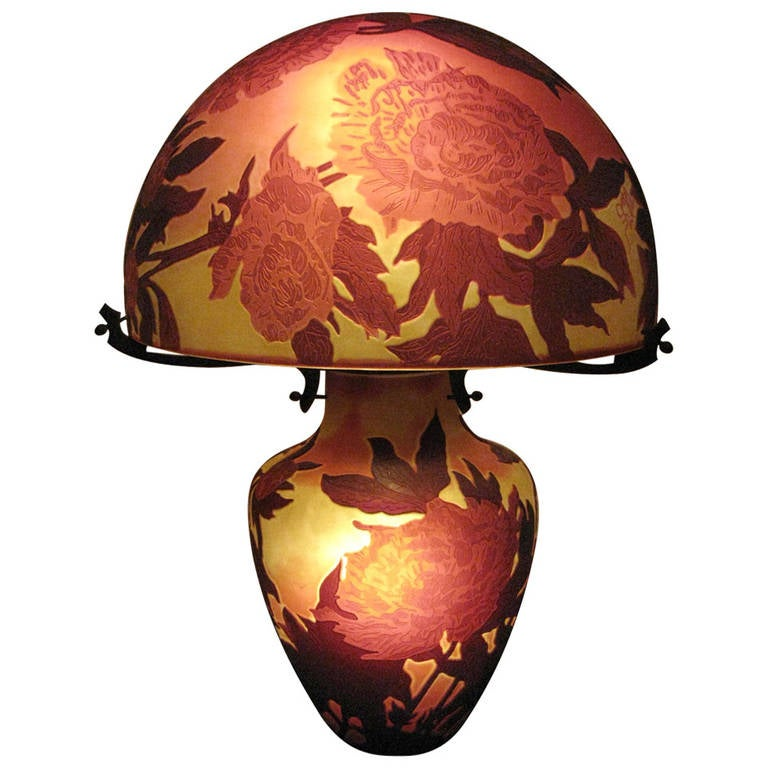 Large French Triple Overlaid Cameo Art Glass Table Lamp After Galle For Sale