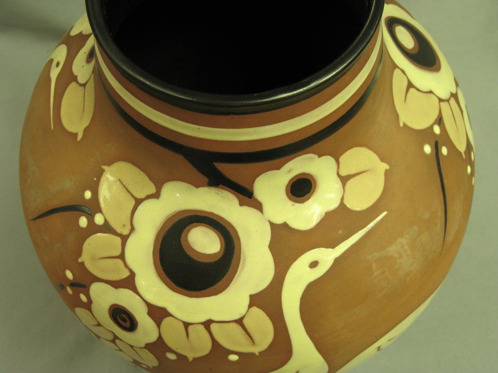 Belgian pottery vase with cranes Catteau Boch Freres Enameled circa 1939 For Sale 3