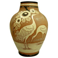 Catteau Boch Freres Enameled Vase with Cranes, circa 1939