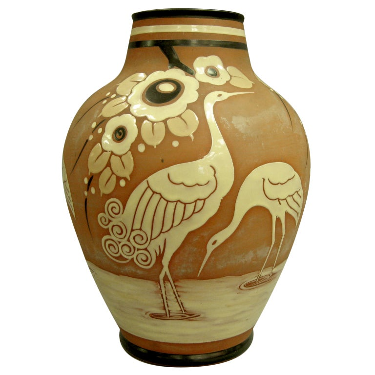 Belgian pottery vase with cranes Catteau Boch Freres Enameled circa 1939 For Sale