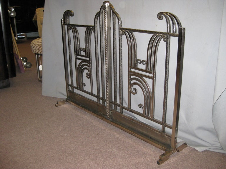 Forged Iron Fireplace Screen : French art deco hand forged iron fire screen charles