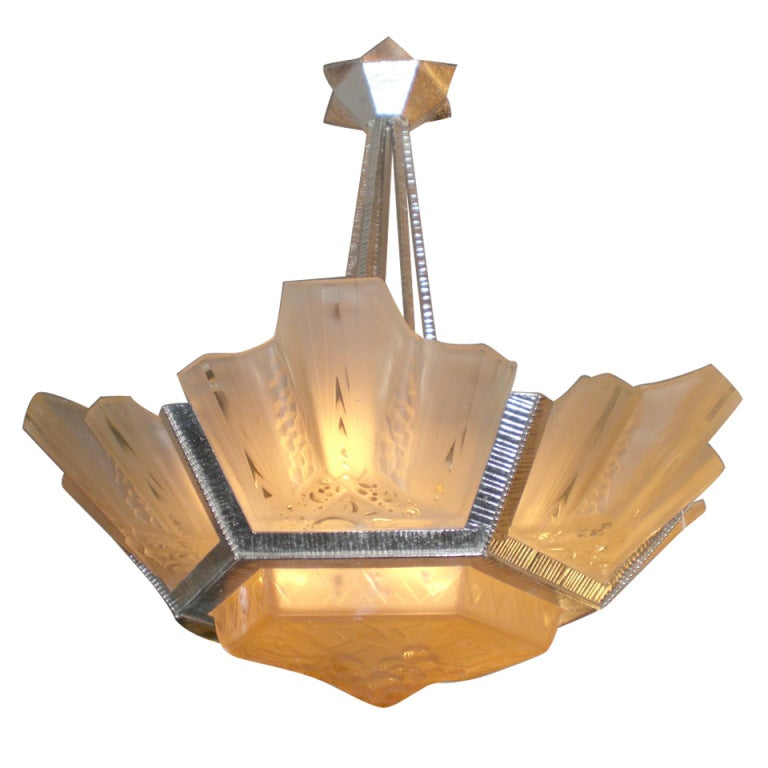 Peach Tinted Muller Frères Luneville Signed Art Deco Chandelier For Sale