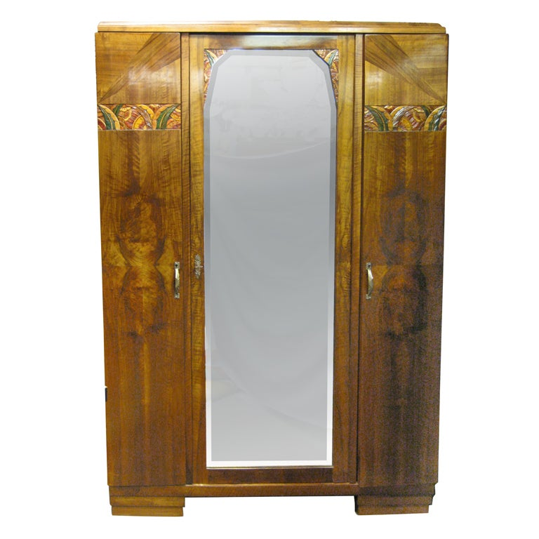french art deco hand carved polychrome walnut armoire. Black Bedroom Furniture Sets. Home Design Ideas