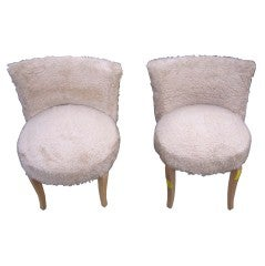 Pair of French Faux Fur Upholstered Slipper Chairs, circa 1940