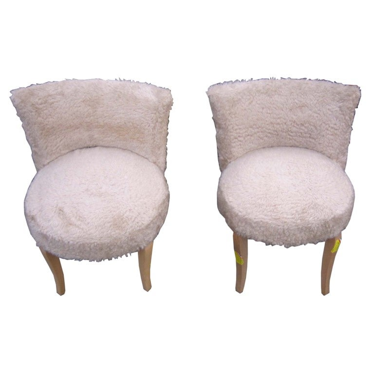Pair Of French Faux Fur Upholstered Slipper Chairs