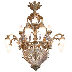 Palatial French 19th Century Louis XV Bronze and Crystal Chandelier