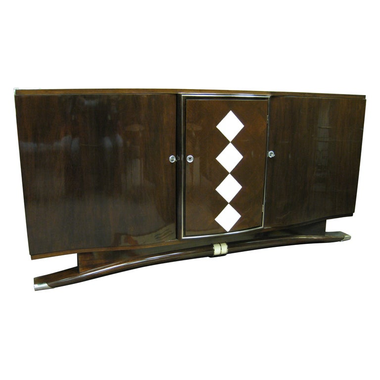 Important Art Deco Walnut and Shagreen Cabinet Andre Frechet For ...