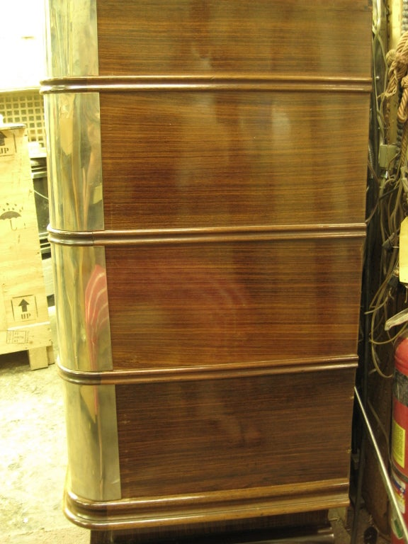 French Art Deco Nickel Mounted Ribbon Stripe Mahogany Cabinet For Sale 2