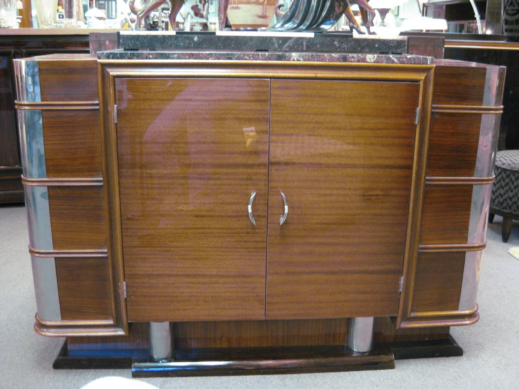 French Art Deco Nickel Mounted Ribbon Stripe Mahogany Cabinet For Sale 5