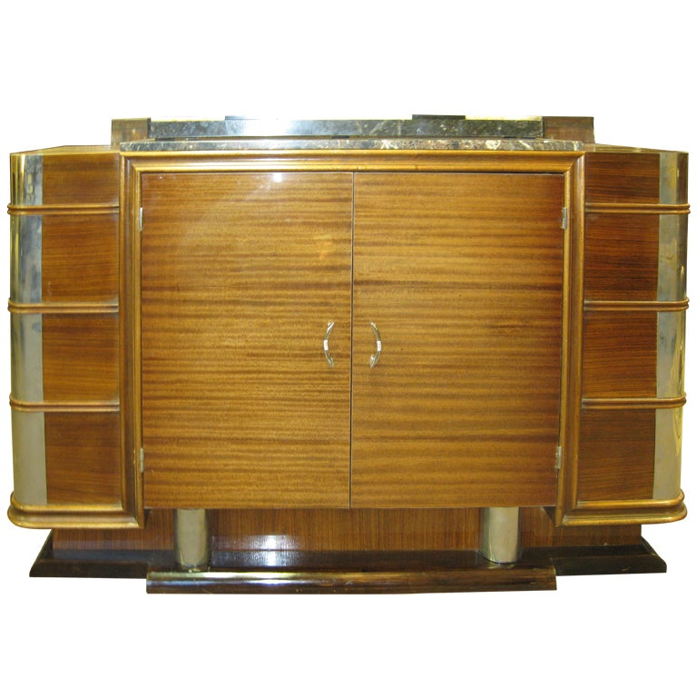 French Art Deco Nickel Mounted Ribbon Stripe Mahogany Cabinet
