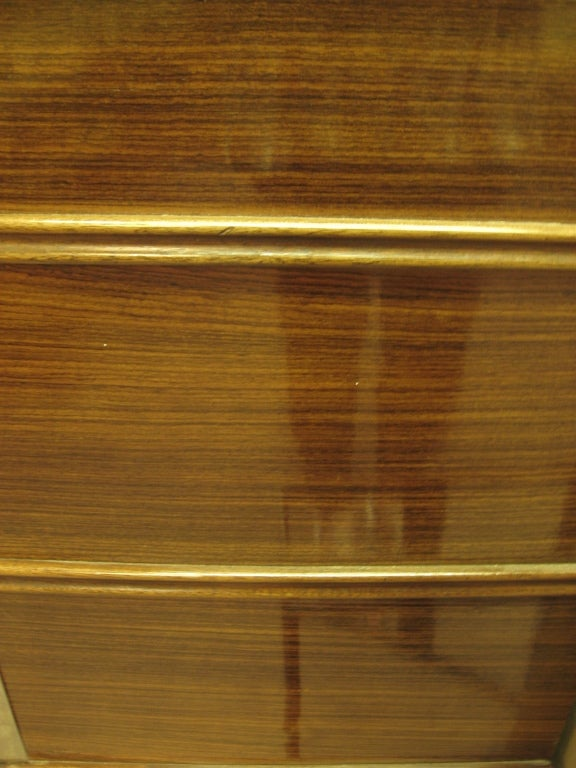 French Art Deco Nickel Mounted Ribbon Stripe Mahogany Cabinet For Sale 6