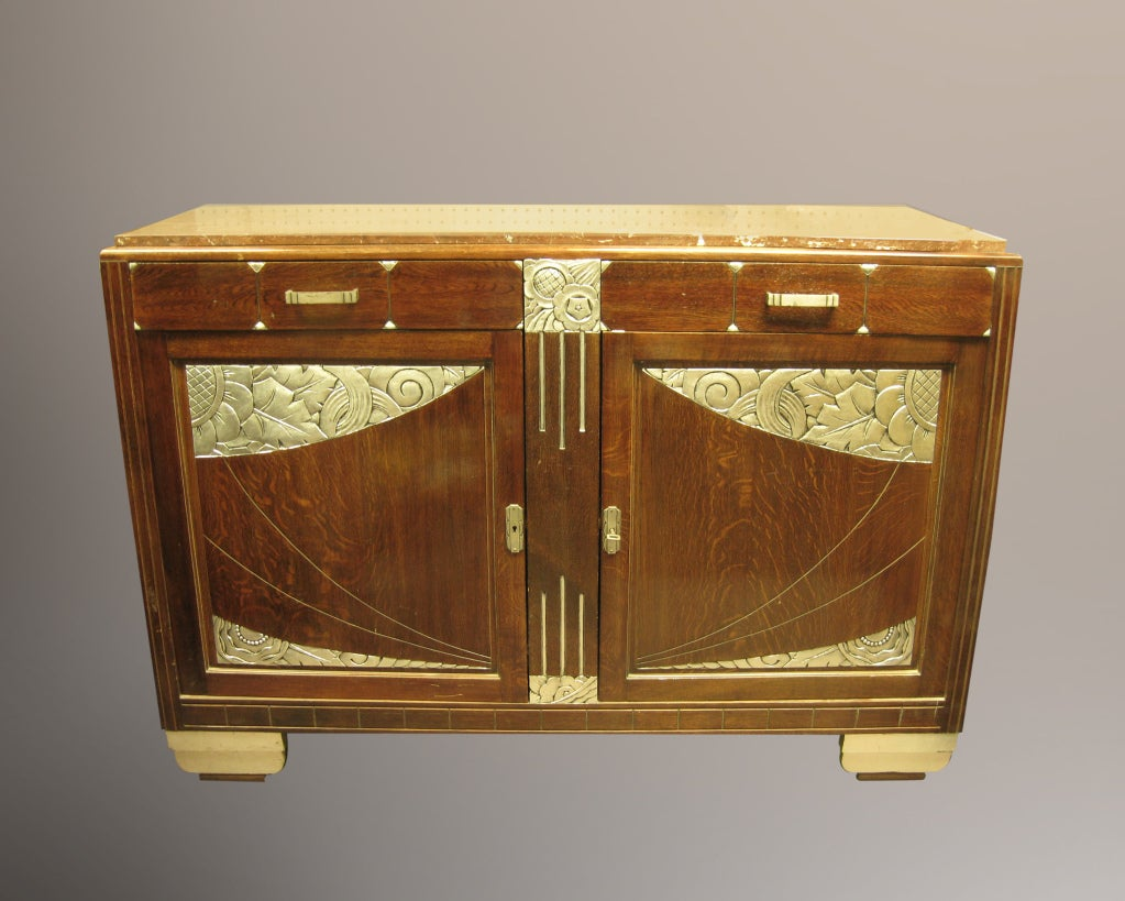 French art deco hand carved silver leaf cabinet with marble top at 1stdibs - Cabinet jean charpentier ...