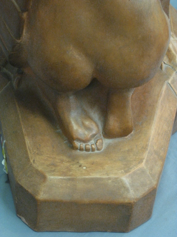 Art Deco Terracotta Sculpture of Leda and the Swan by Beauvais 1
