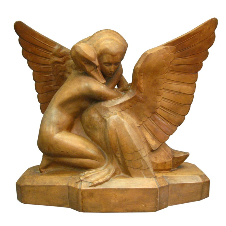 Art Deco Terracotta Sculpture of Leda and the Swan by Beauvais
