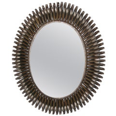 Mid century two tone oval soleil mirror - horizontal or vertical