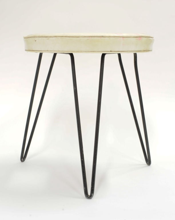 """William Armbruster's Donut Stool  for Edgewood Furniture Co.  This stool was featured in the Modern of Modern Art, """"Good Design"""" Exhibition, 1950.  Documented in """"Mid Century Design"""", Decorative Arts 1940-1960, Bass Museum of Art, 1984, page14. Arts"""