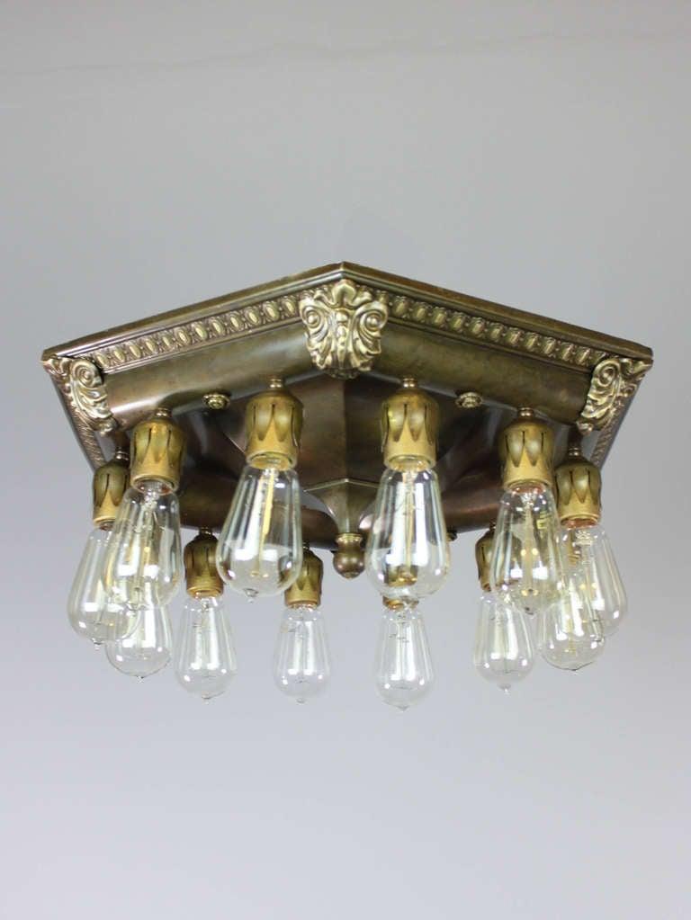 Commercial Bare Bulb Flush Mount Light Fixture 12 Light