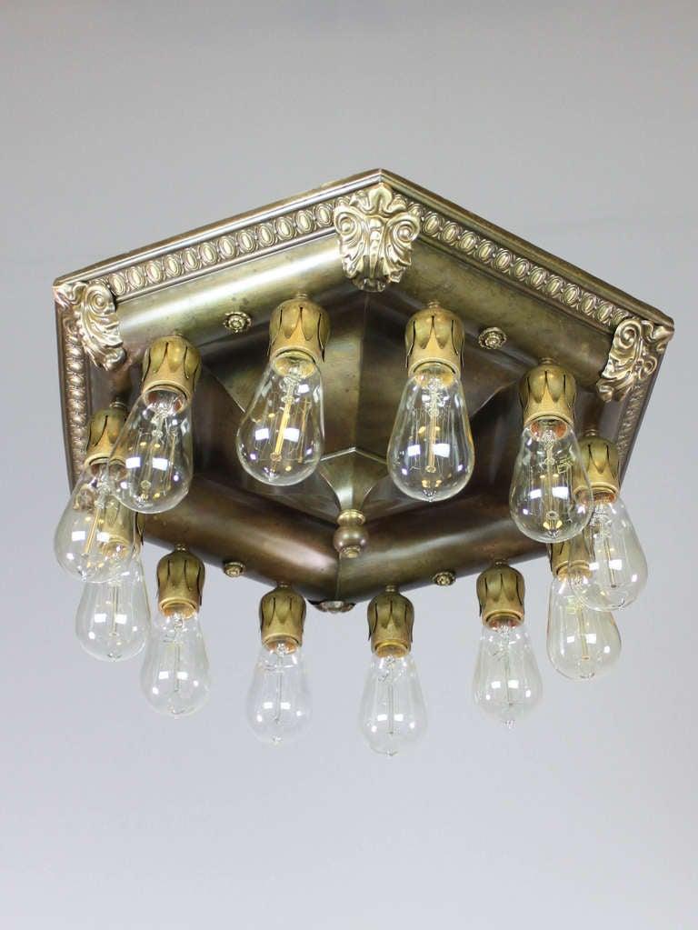 commercial bare bulb flush mount light fixture 12 light. Black Bedroom Furniture Sets. Home Design Ideas