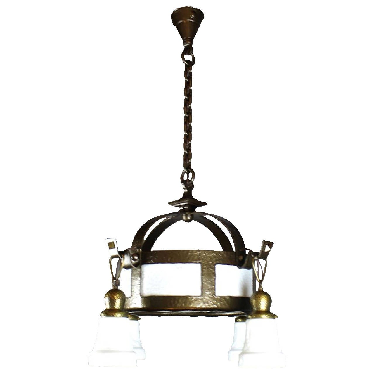 arts and crafts hand hammered fixture 4 light for sale. Black Bedroom Furniture Sets. Home Design Ideas