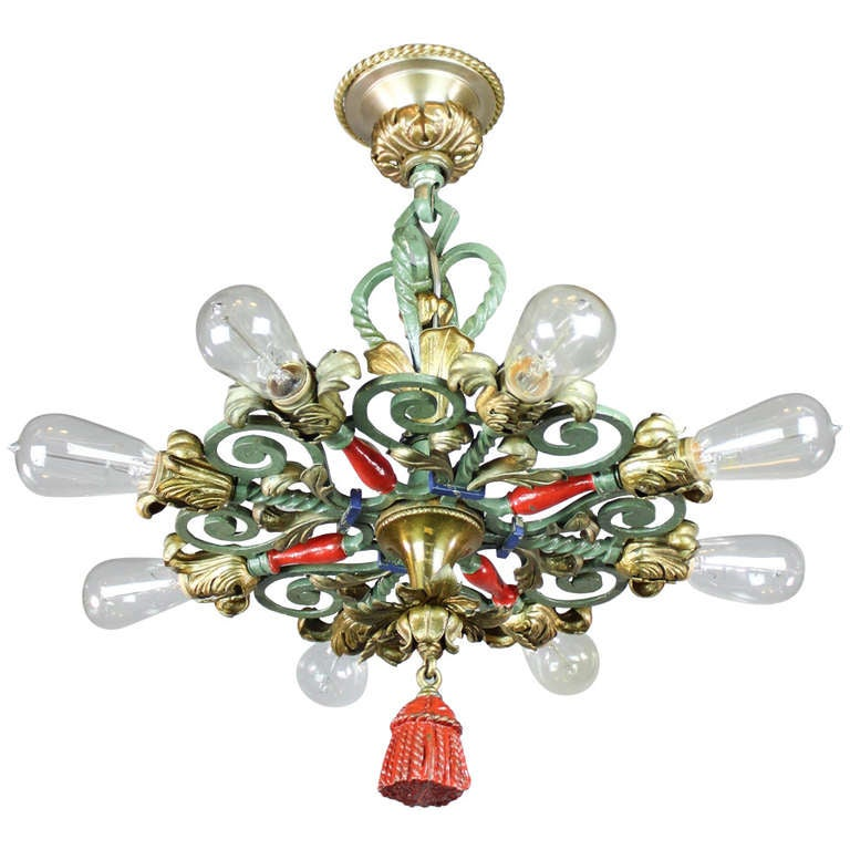 caldwell and co spanish colonial bare bulb light fixture. Black Bedroom Furniture Sets. Home Design Ideas
