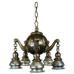 Heavy Colonial Ball Light Fixture with Lotez Art Glass, Five-Light