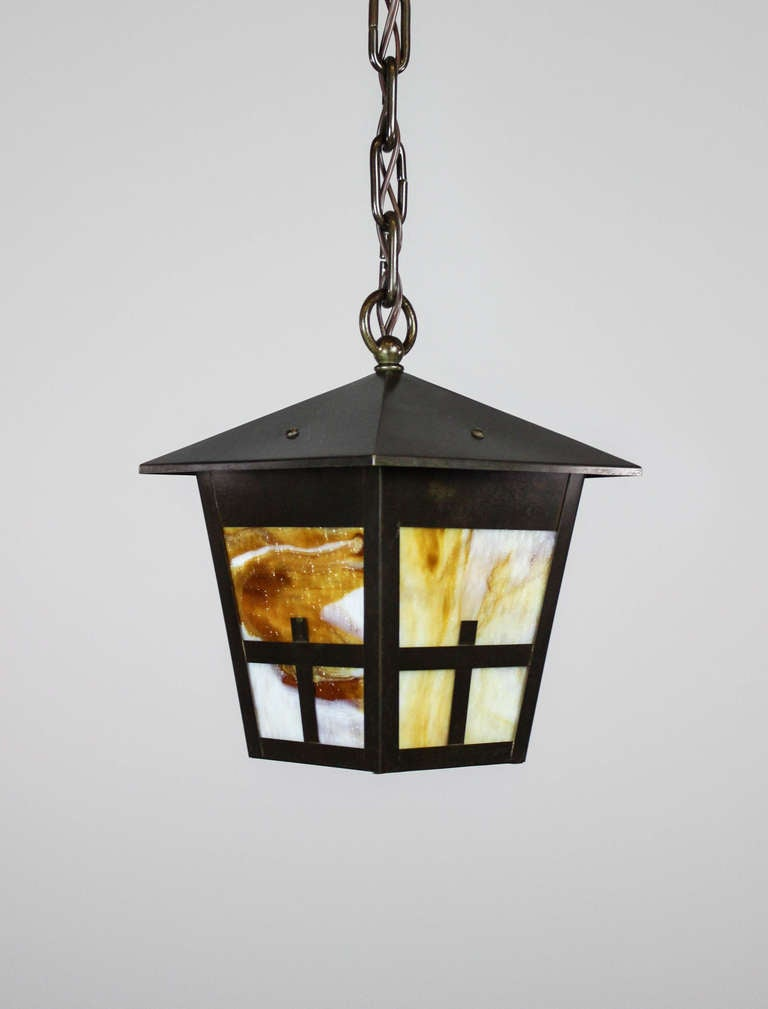 Arts And Crafts Mission Lantern Pendant Fixture For Sale