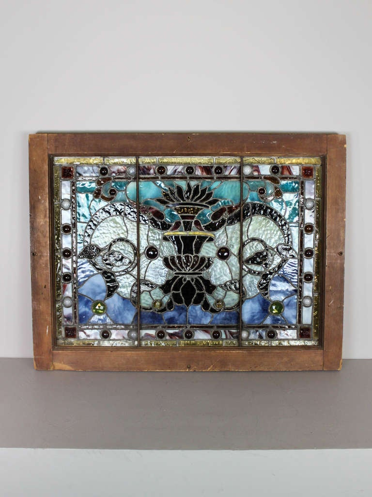 small stained glass window panel at 1stdibs