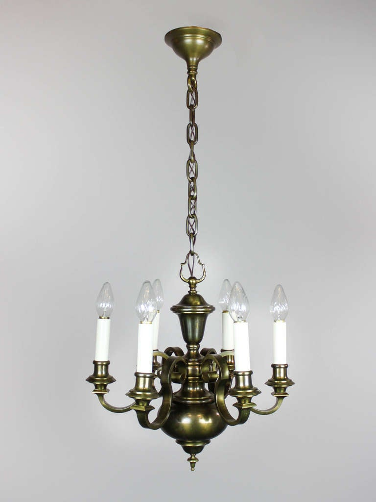 Antique Colonial Revival Chandelier 6 Light At 1stdibs