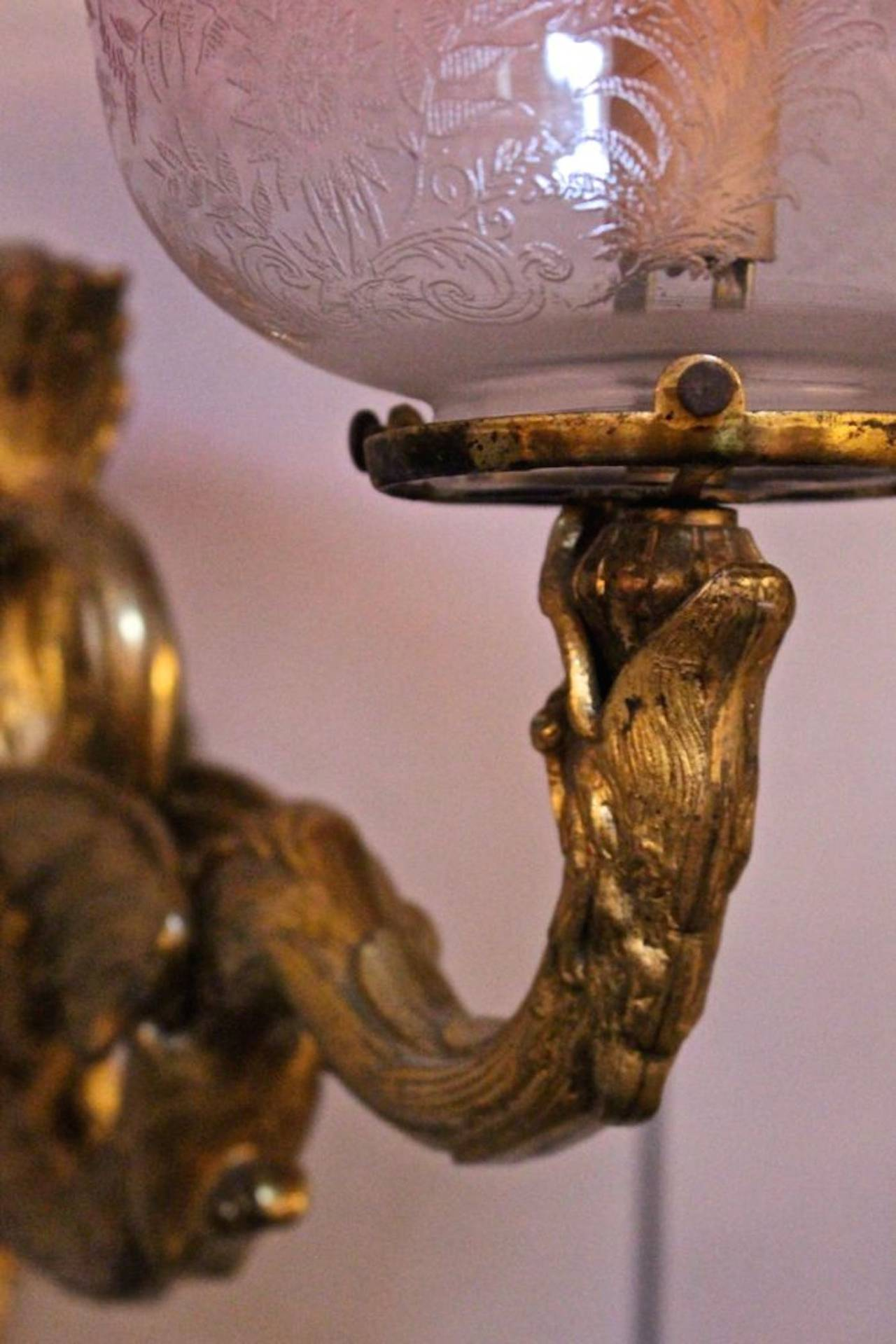 Cast Bronze Ornate Wall Sconce For Sale at 1stdibs